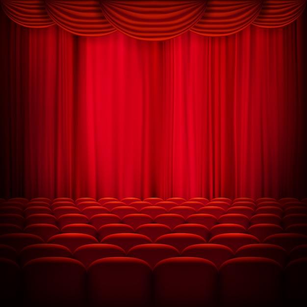赤いカーテンテンプレート。 Premiumベクター