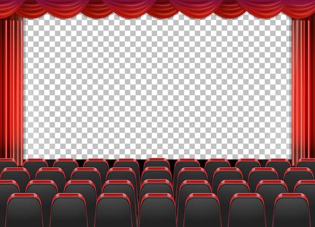 투명 배경으로 극장에서 빨간 커튼 무료 벡터