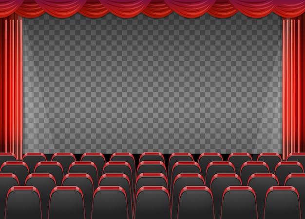 Красные шторы в театре с прозрачным фоном Бесплатные векторы
