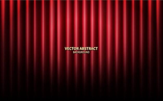 Red curtains theater scene stage backdrop. vector abstract background performance concert. Premium Vector