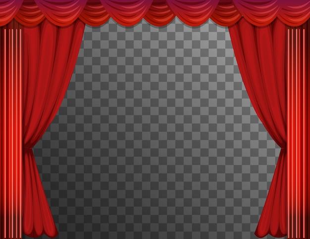 Красные шторы с прозрачным фоном Бесплатные векторы