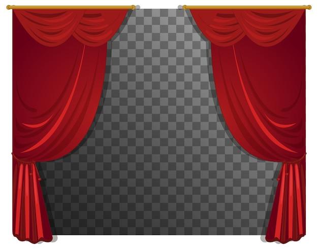 透明な赤いカーテン 無料ベクター