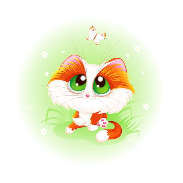 Red cute kitten looks at a white butterfly. Premium Vector