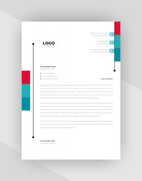 赤・シアン色企業のレターヘッドテンプレートデザイン。 無料ベクター