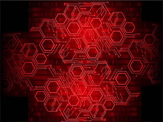 Red cyber circuit future technology concept background Premium Vector