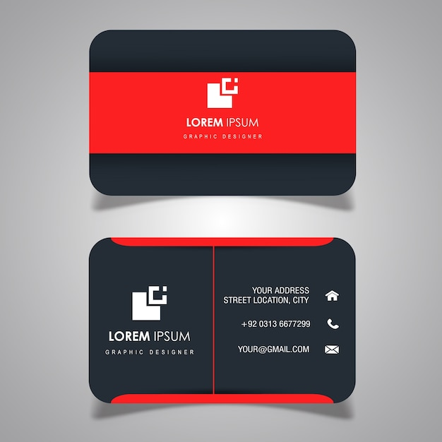 Red dark grey business card vector free download red dark grey business card free vector reheart Choice Image