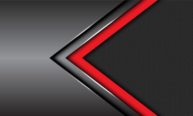 Red dark grey metallic arrow direction circle mesh futuristic background. Premium Vector