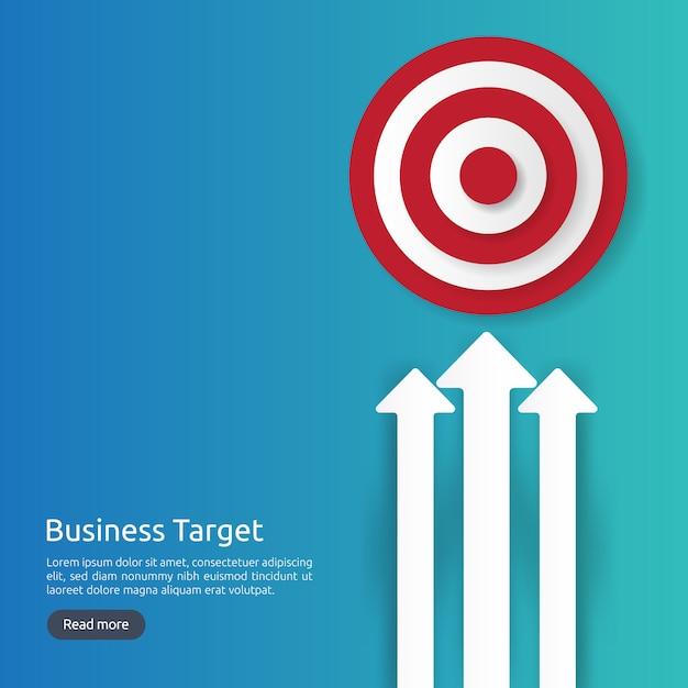 赤いダーツボードのセンターゴール。戦略の達成とビジネスの成功のフラットデザイン。アーチェリーダーツターゲットとバナーや背景の矢印。グラフとドルのアイコンイラストのコンセプト Premiumベクター