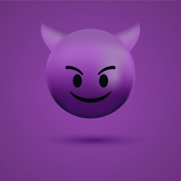 Red devil emoticon face or bad evil emoji Premium Vector