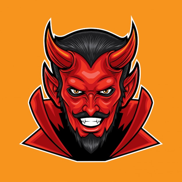 Red devil head mascot Premium Vector