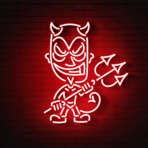Red devil neon Premium Vector
