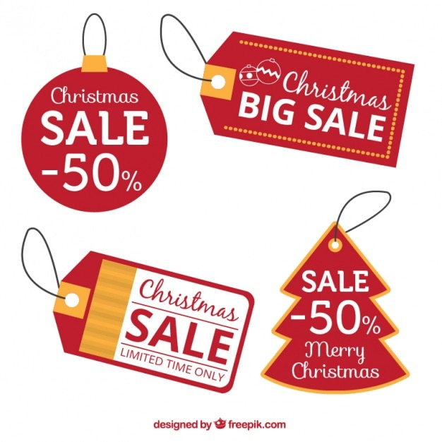 Red discount christmas tags Vector | Free Download