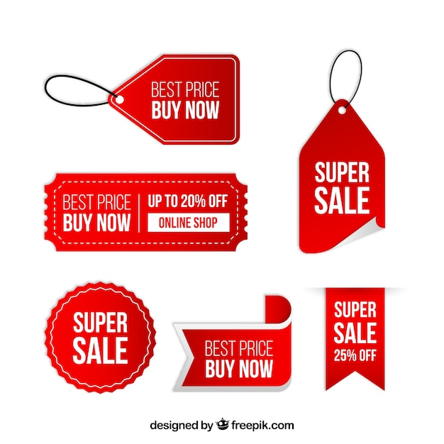 Red discount sticker collection Free Vector