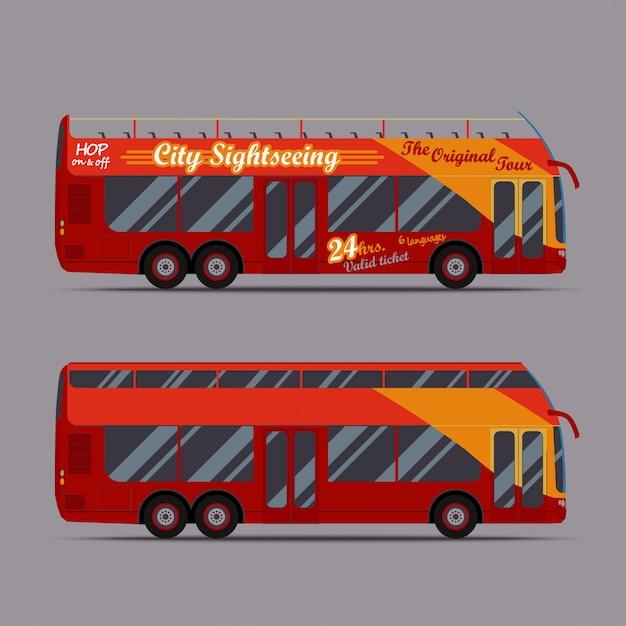 Red double decker bus Premium Vector