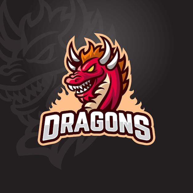 Red dragon esportロゴ Premiumベクター
