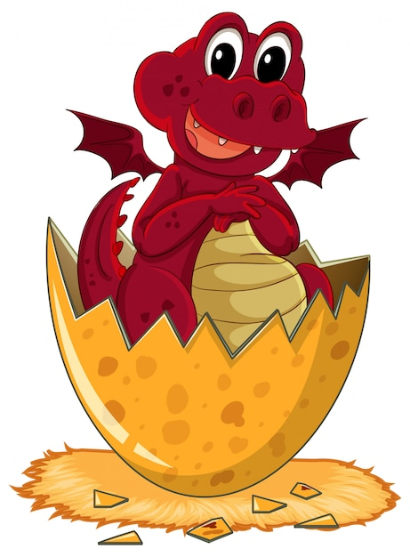 Red dragon hatching egg Free Vector