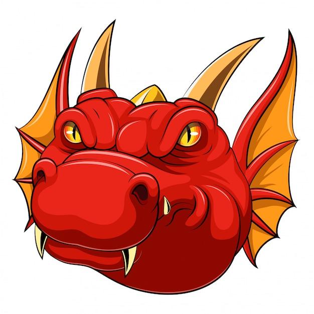 Red dragon head mascot Premium Vector