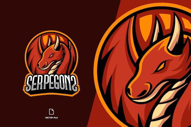 Eスポーツとスポーツチームテンプレートの赤いドラゴンマスコットロゴゲームのロゴ Premiumベクター