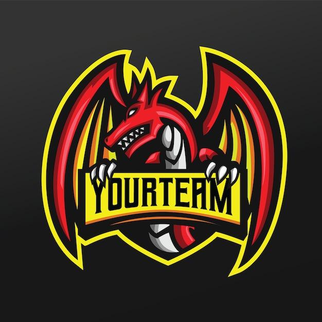 ロゴeスポーツゲームチームチームの赤いドラゴンマスコットスポーツイラスト Premiumベクター