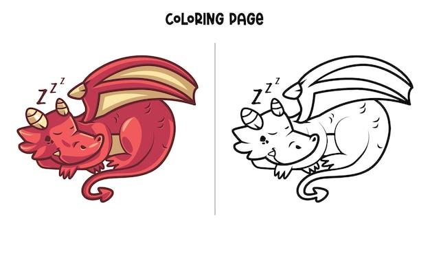 Красный дракон спит Premium векторы