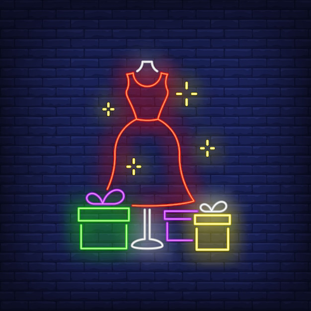 Red dress on mannequin and gift boxes neon sign Free Vector