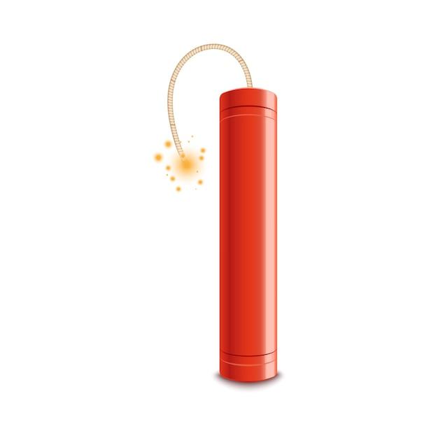 Красная динамитная шашка с зажженным запалом готова взорваться. огненная искра, горящая на фитиле, приближается к взрывной бомбе, реалистично изолирована Premium векторы