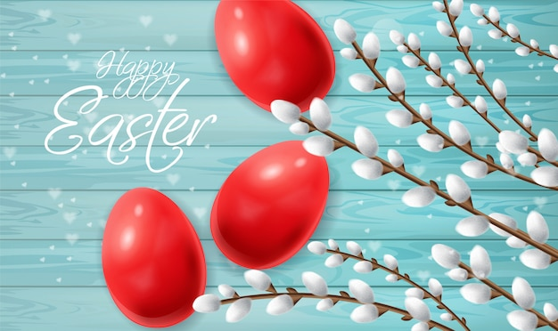 Red easter eggs Premium Vector