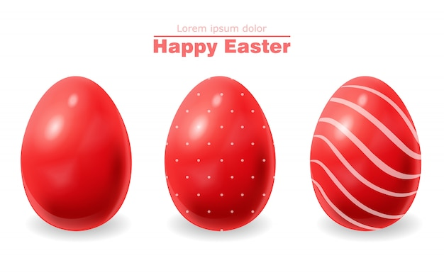 Red easter eggs Premium Vector