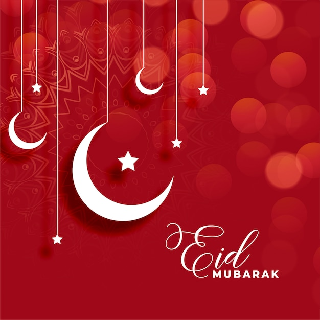 Red eid mubarak background with moon and star decoration Free Vector