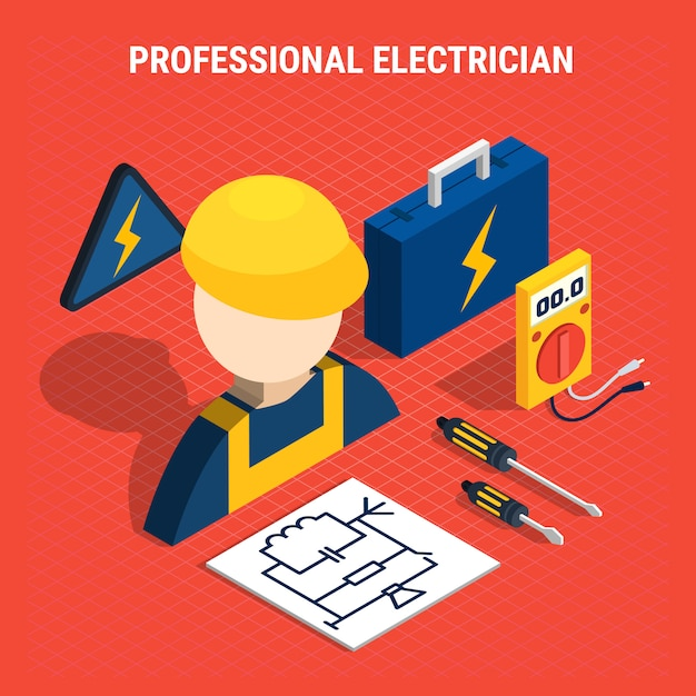 Red electricity isometric composition Free Vector