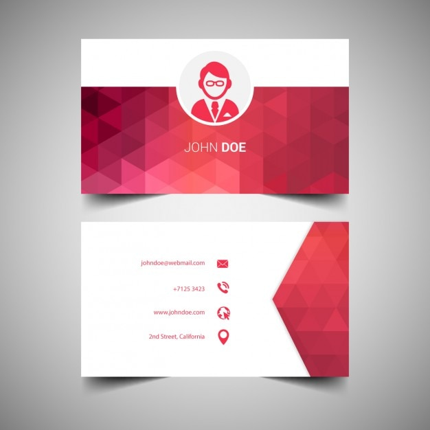 red elegant business cards template vector free download