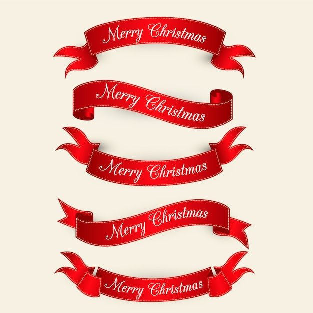 Red elegant christmas collection Free Vector