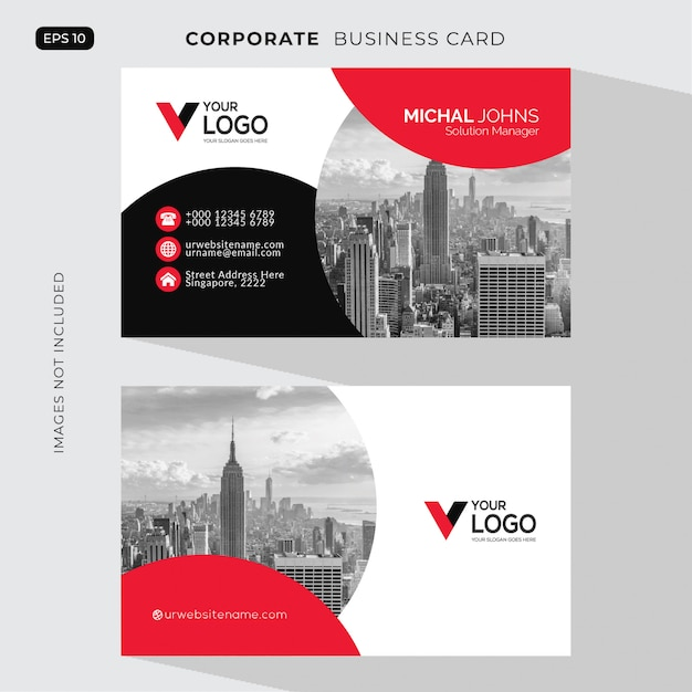 Red elegant corporate card free vector Free Vector
