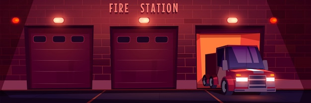 Red emergency rescue truck drives from fire station at night. Free Vector