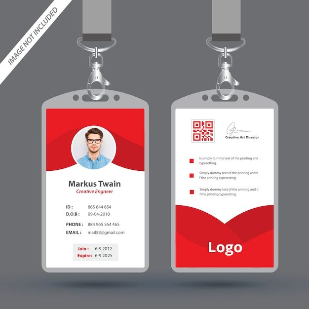 Red Employee Id Card Design Template Vector