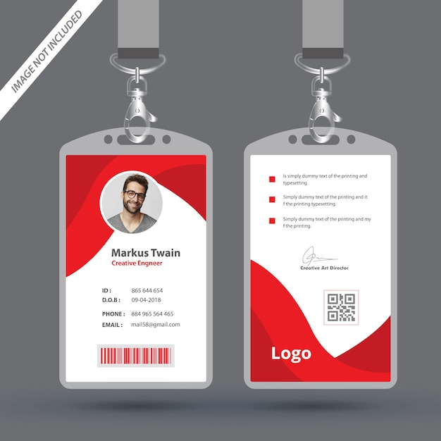 red employee id card design template vector premium download