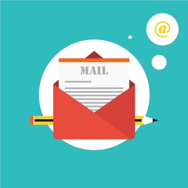 Red envelope with an email Free Vector