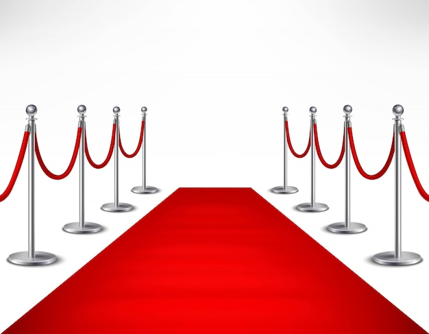 Red event carpet and silvery barriers on white background realistic