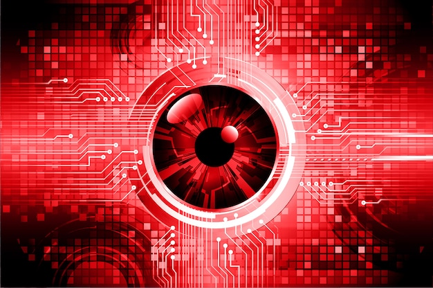 Red eye cyber circuit future technology concept background Premium Vector