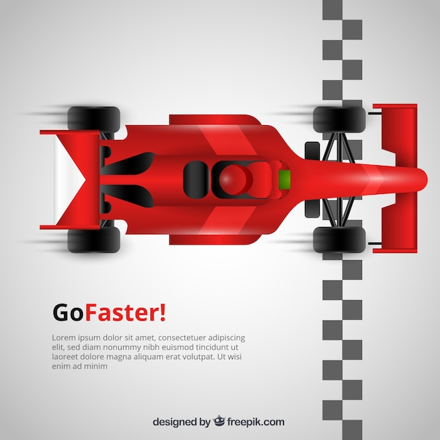 Red f1 racing car crosses finish line Free Vector