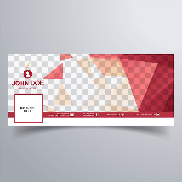 Red facebook banner for timeline Free Vector