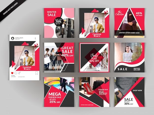 Red Fashion Social Media Post For Digital Marketing Premium Vector