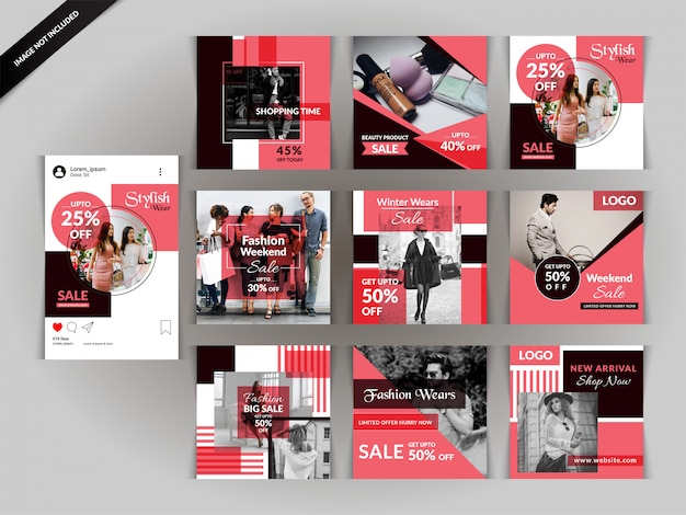 Red fashion social media post template Premium Vector