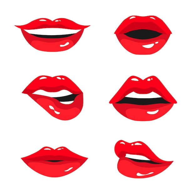 Red female lips collection. set of sexy woman's lips expressing different emotions: smile, kiss, half-open mouth and biting lip. illustration isolated on white background. Premium Vector