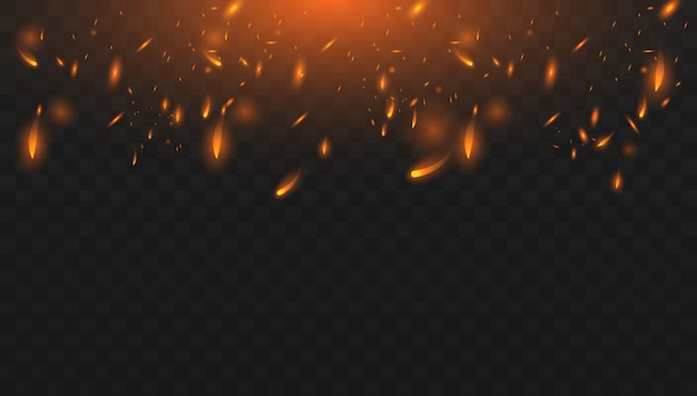 Красный огонь искры вектор летит вверх. горящие светящиеся частицы. реалистичный эффект изолированного огня. понятие о блестках, пламени и света. Premium векторы