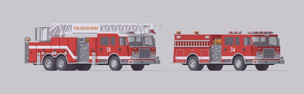 Red fire truck set. type 1 rescue fire engine & ladder rescue fire engine. Premium Vector