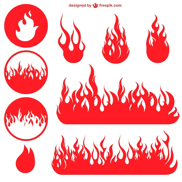 Red flame icons Free Vector