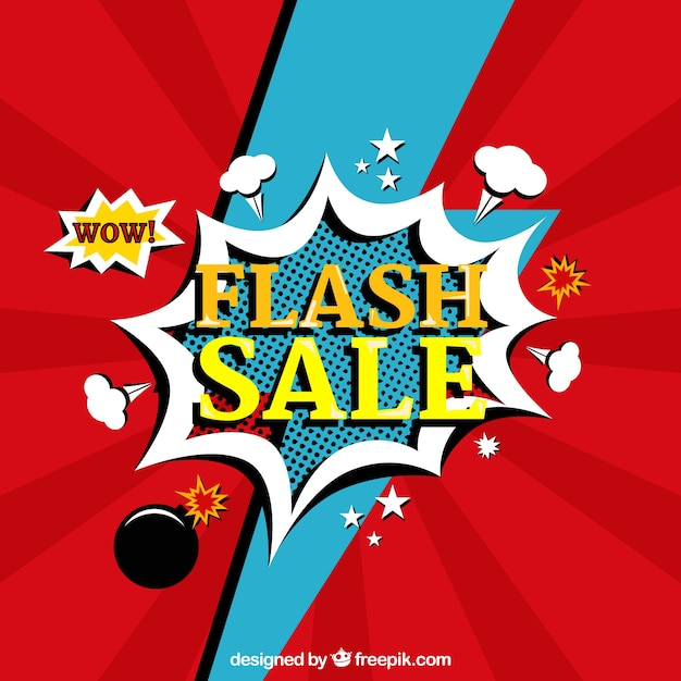 Red flash sale background in comic style Free Vector