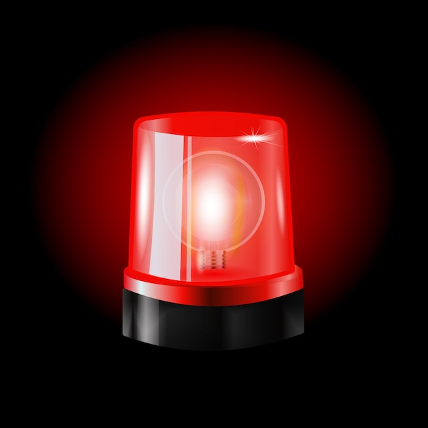 Red flashers siren vector. realistic object. light effect. beacon for police cars ambulance, fire trucks. emergency flashing siren. Premium Vector