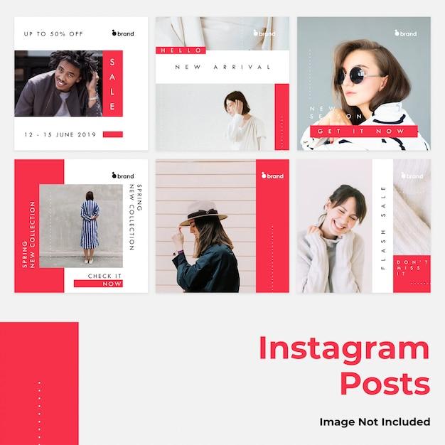 Red flat social instagram banner Premium Vector